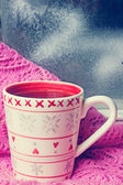Cup of tea near the winter window — Stock Photo