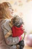Girl child with a puppy Yorkshire Terrier — Stock Photo