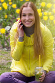 Woman calling on the mobile phone — Stock Photo