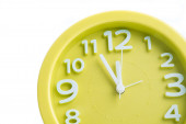 Yellow big clock isolated — Stock Photo