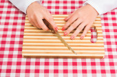 Cook with cutting board — Stock Photo