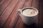 White cup of aroma cappuccino — Stock Photo