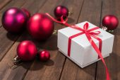 Red presents in white box — Stock Photo