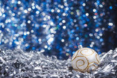 Silver new years balls — Stock Photo