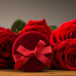 Romantic red roses with box gift — Foto Stock #62181441
