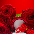 Romantic red roses with golden ring — Foto Stock #62186903