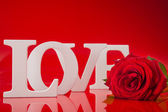 Big love words with red rose flower  — Stock Photo