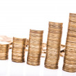 Pile of golden coins isolated — Stock Photo #67460821
