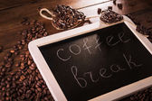Coffee break board with grains — Stock Photo