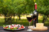 Salad and bottle of wine — Stock Photo