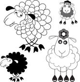 Caricature of sheep. Option Line and the option the silhouette — Stock Vector