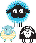 Caricature of sheep and ram. Option in color and the silhouette version — Stock Vector