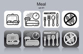 Meal icons — Stock Vector