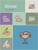 Dinner icons — Stock Vector