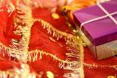 Gift box on christmas background — Stock Photo