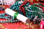Elegant christmas background with Christmas decorations and invitation card — Stock Photo