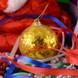 Christmas background with gift box, diamonds, new year balls — Stock Photo #53814867