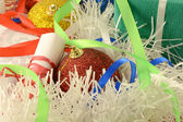 Christmas background with red and blue ribbon and new year balls — Stok fotoğraf