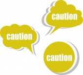 Caution word on modern banner design template. set of stickers, labels, tags, clouds — Stock Photo