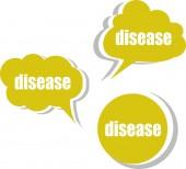 Choroba słowo na nowoczesnym szablonu banner projektu. zestaw naklejek, etykiet, metek, chmury — Zdjęcie stockowe