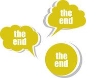 The end words on modern banner design template. set of stickers, labels, tags, clouds — Stock Photo
