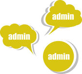 Admin words on modern banner design template. set of stickers, labels, tags, clouds — Stock Photo