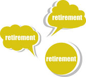 Retirement. Set of stickers, labels, tags. Business banners, infographics — Foto Stock