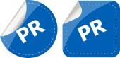 Pr λέξη στο σύνολο, κουμπί εικονίδιο αυτοκόλλητα — Φωτογραφία Αρχείου