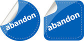 Abandon word stickers set icon button isolated on white — Stock Photo