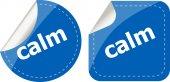 Calm word stickers set, web icon button — Stock Photo