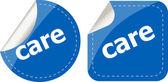 Care word stickers set, web icon button — Stock Photo