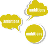 Ambitions word on modern banner design template. set of stickers, labels, tags, clouds — Stock Photo