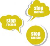 Stop racism word on modern banner design template. set of stickers, labels, tags, clouds — Stock Photo