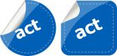 Act stickers set, icon button isolated on white — Stock Photo