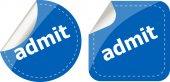 Admit word stickers set, icon button, business concept — Zdjęcie stockowe