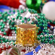 Christmas decorations, new year invitation card, drums, pearls and xmas balls — Stock Photo #54327349