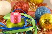 Christmas ball, new year invitation card, bow and ribbon — Stock Photo
