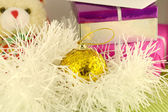 Christmas red gift with yellow balls, new year card — Stockfoto
