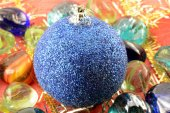 Blue new year (christmas) balls with stones set, holiday invitation card — Stock Photo