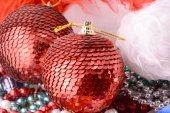 Christmas balls set, new year holiday card — Foto Stock