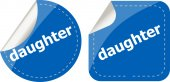Daughter word stickers web button set, label, icon — Stock Photo