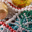 Beautiful ornaments, champagne and balls as a New Year decoration — Stock Photo #54837001
