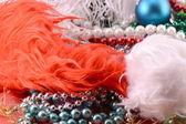 Christmas balls, diamonds and ribbon, new year decoration — Stock Photo