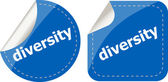 Diversity word on stickers button set, label — Stock Photo