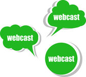 Webcast word on modern banner design template. set of stickers, labels, tags, clouds — Stock Photo