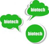 Biotech word on modern banner design template. set of stickers — Stock Photo