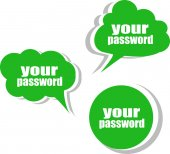 Your password. Set of stickers, labels, tags. Business banners — Stock Photo