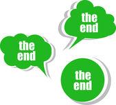 Las palabras finales de plantilla de diseño moderno banner. juego de pegatinas, etiquetas, etiquetas, nubes — Foto de Stock