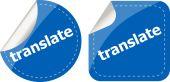 Translate stickers set on white, icon button isolated on white — Stock Photo