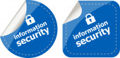 Information security stickers label tag set isolated on white — Stock Photo